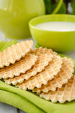 Waffles on a green table napkin closeup Royalty Free Stock Images