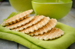 Waffles on a green table napkin closeup Royalty Free Stock Photography