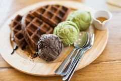 waffles with green tea and chocolate ice cream stock images