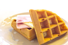 Waffles with ham and cheese Stock Images