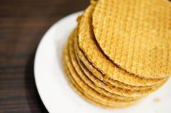 Waffles holandeses do xarope Imagem de Stock Royalty Free