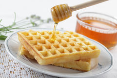 Waffles, honey, and lavender stock photography