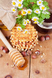 Waffles with honey Royalty Free Stock Photo