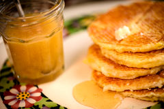Waffles with honey syrup Stock Images