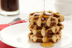 Waffles with honey Stock Photo