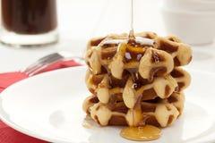 Waffles with honey Stock Photo