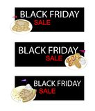 Waffles and Hot Dog Waffles on Black Friday Sale Banner Stock Photos