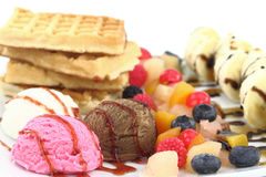 Waffles and ice cream Stock Image