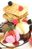 Waffles with ice cream Stock Image