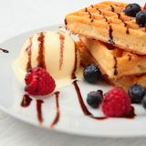 Waffles with Ice Cream Stock Photos