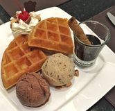 Waffles and ice cream Royalty Free Stock Image