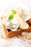 Waffles with ice cream with banana Royalty Free Stock Photo