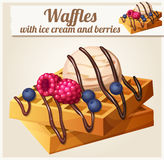 Waffles with ice cream and berries. Detailed Stock Photo