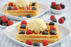 Waffles with ice cream and berries Royalty Free Stock Image