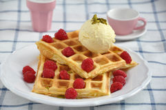 Waffles with ice cream and berries Stock Image