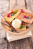 Waffles with ice cream Royalty Free Stock Photography