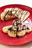 Waffles with ice-cream royalty free stock image