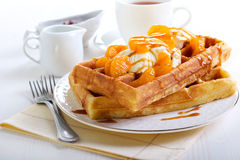 Waffles with ice cream Stock Photography