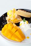 Waffles with ice cream and mango Stock Photography