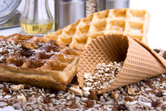 Waffles from integral wholegrain Stock Images