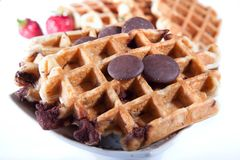 Waffles from integral wholegrain with chocolate Stock Photo