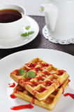 Waffles with jam Stock Photo