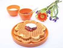 Waffles and jam Royalty Free Stock Photography