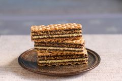 Waffles layered cake. With condensed milk, vanilla and chocolate cream Royalty Free Stock Images