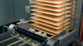Waffles` layers are getting moved into a column by the conveyor belt