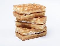 Waffles macios com creme Fotos de Stock