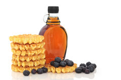 Waffles, Maple Syrup, Blueberries Royalty Free Stock Photography