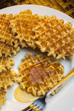 Waffles and Maple Syrup Royalty Free Stock Photos
