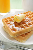 Waffles and maple syrup Stock Photo