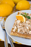 Waffles with meringue, lemon curls and orange slices Stock Images