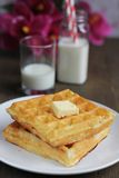 Waffles with milk Stock Photo