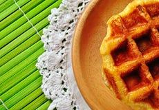 Waffles no fundo branco Fotos de Stock Royalty Free