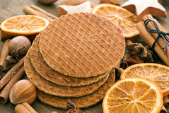 Waffles with nuts Royalty Free Stock Images