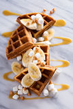 Waffles with peanut butter and bananas Stock Image