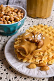 Waffles with peanut butter Stock Image