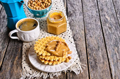 Waffles with peanut butter Stock Photo