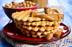Waffles with peanut butter Royalty Free Stock Photo