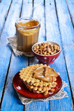 Waffles with peanut butter Stock Images