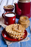 Waffles with peanut butter Stock Photography