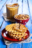 Waffles with peanut butter Royalty Free Stock Photography