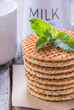 Waffles with peppermint and tea with milk for breakfast. Waffles with peppermint and tea with milk Royalty Free Stock Photos