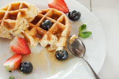 Waffles in plate after eat Stock Photo