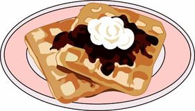 WAFFLES ON PLATE Royalty Free Stock Images