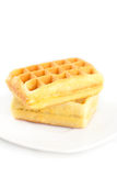 Waffles on a plate isolated on white Stock Photo