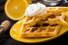 Waffles in the plate Royalty Free Stock Photography