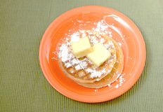Waffles with powdered sugar Stock Image